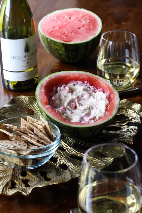 Sequoia Grove Chardonnay, Watermelon, cheese dip