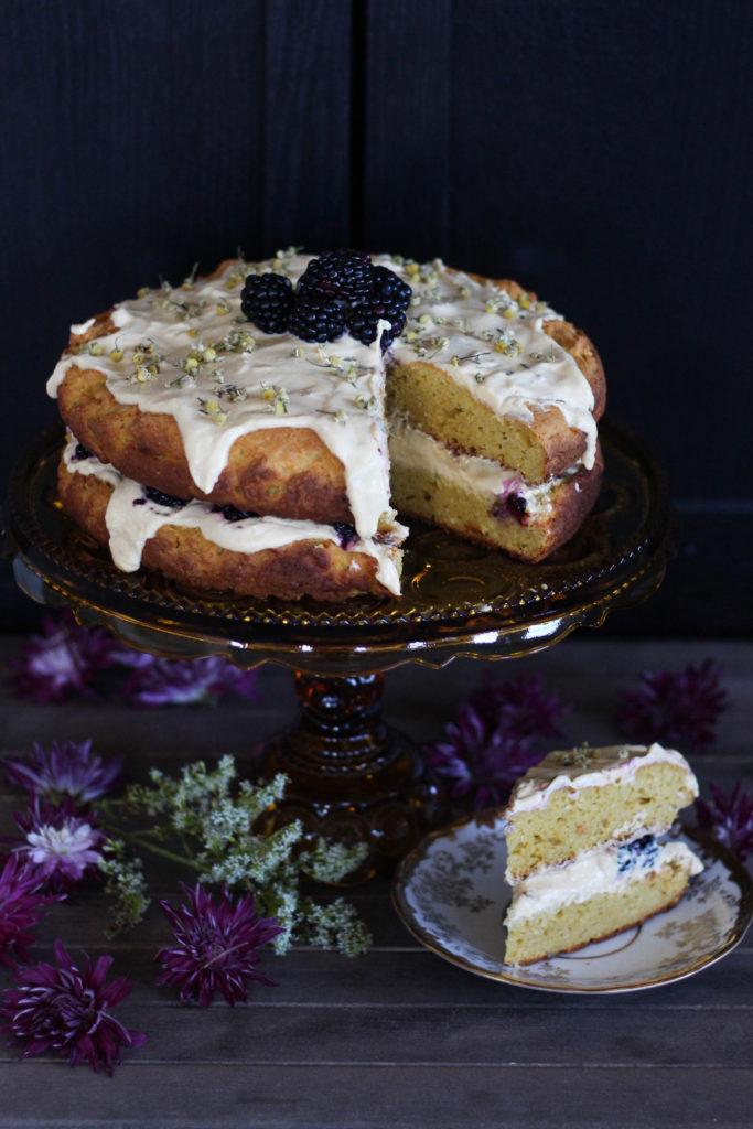 Camomile Pumpkin Cake with Greek Yogurt Frosting