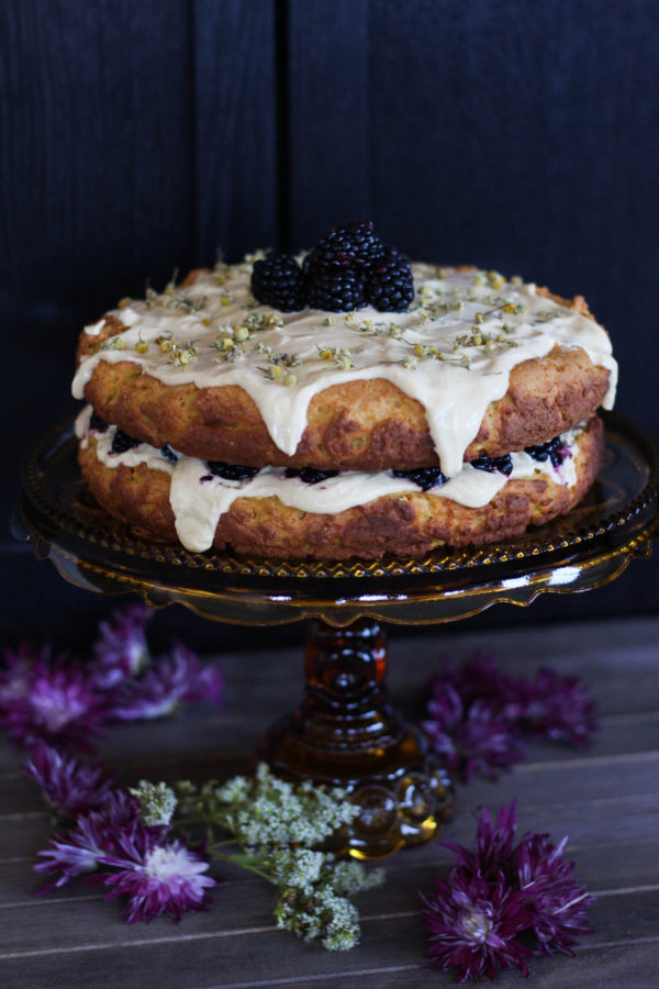 Camomile Pumpkin Cake with Greek Yogurt Frosting