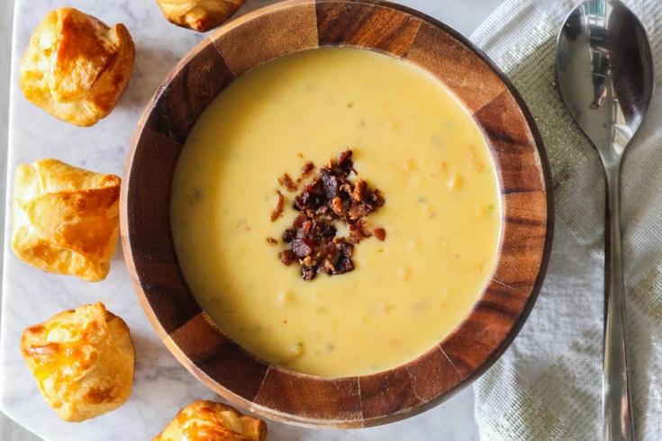 Idahoan soup, potato soup, cheesy chestnut poppers
