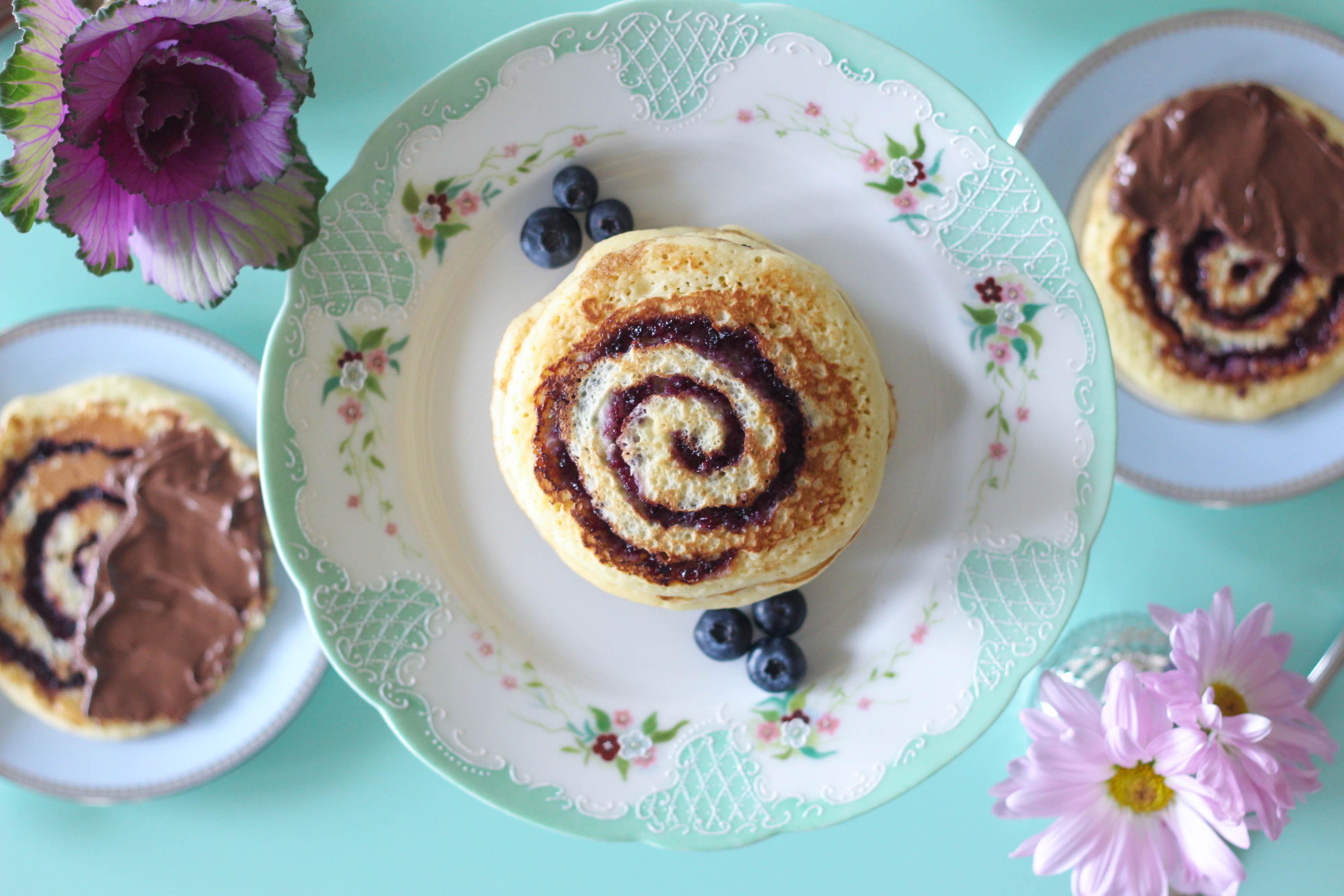 Blueberry Swirl Pancakes, Nutella, Hazelnut Spread, Pancakes