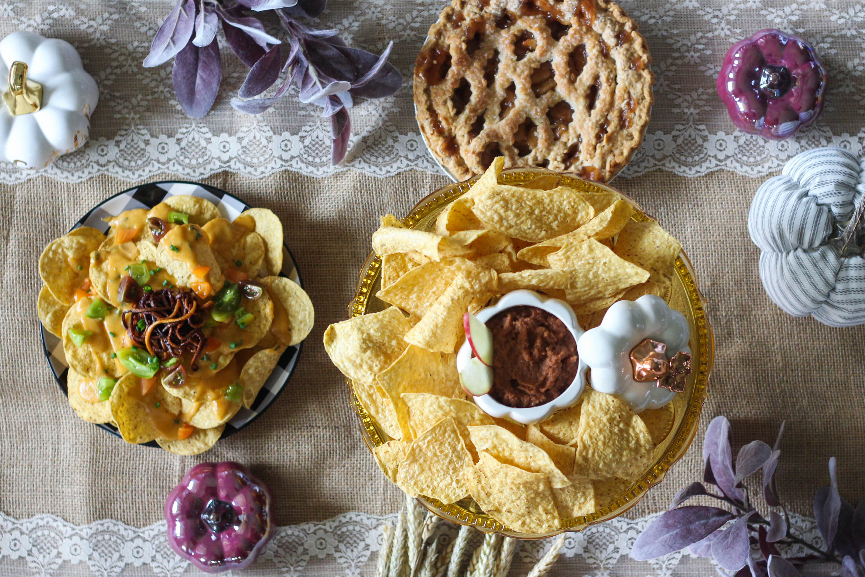 Autumn Nachos and Savory Apple Pie Dip