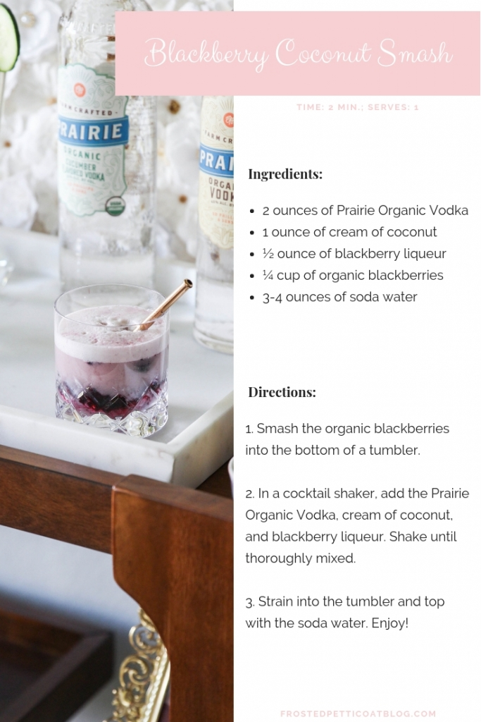 Blackberry Coconut Smash Cocktail Recipe 683x1024 - 2 Essential Organic Cocktail Party Drinks