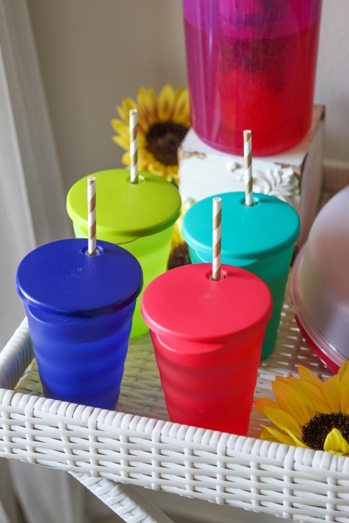 Stylish summertime Tupperware lemonade and snack bar