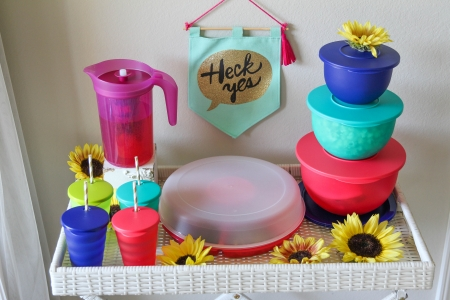 Stylish summertime Tupperware lemonade and snack bar