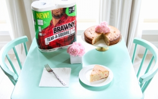 Greek Yogurt Funfetti Cake & Brawny® Tear-A-Square®