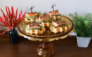 Spiced Salmon & Waffles with Cedar Bay Grilling
