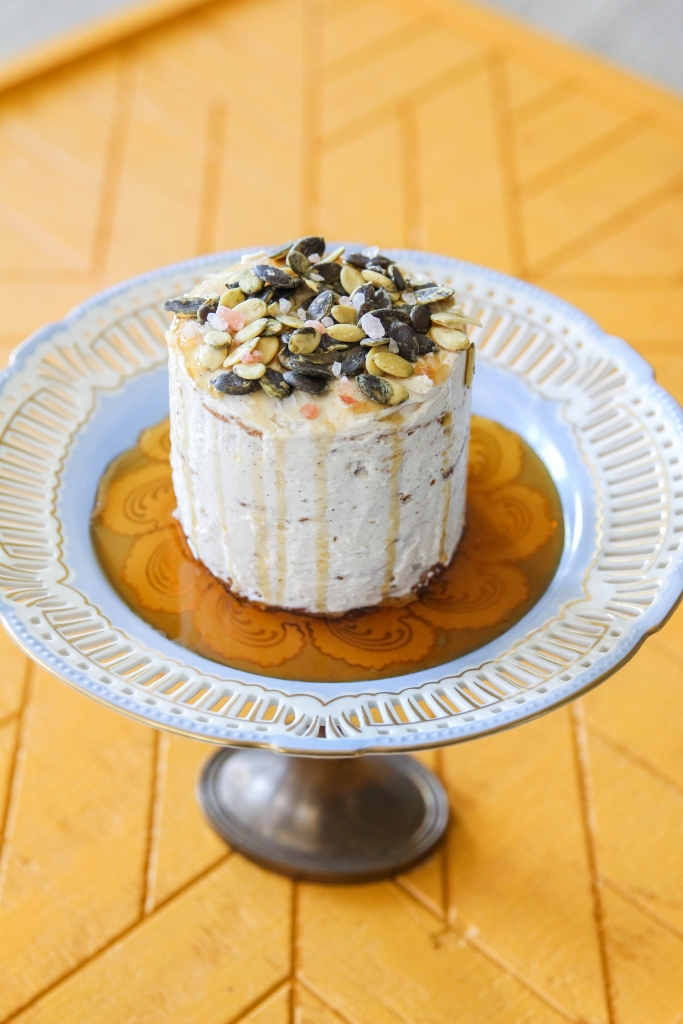 Autumn Date Cake with Clove Buttercream and a Salted Maple Pumpkin Seed Topping with iHerb 12 683x1024 - Autumn Date Cake