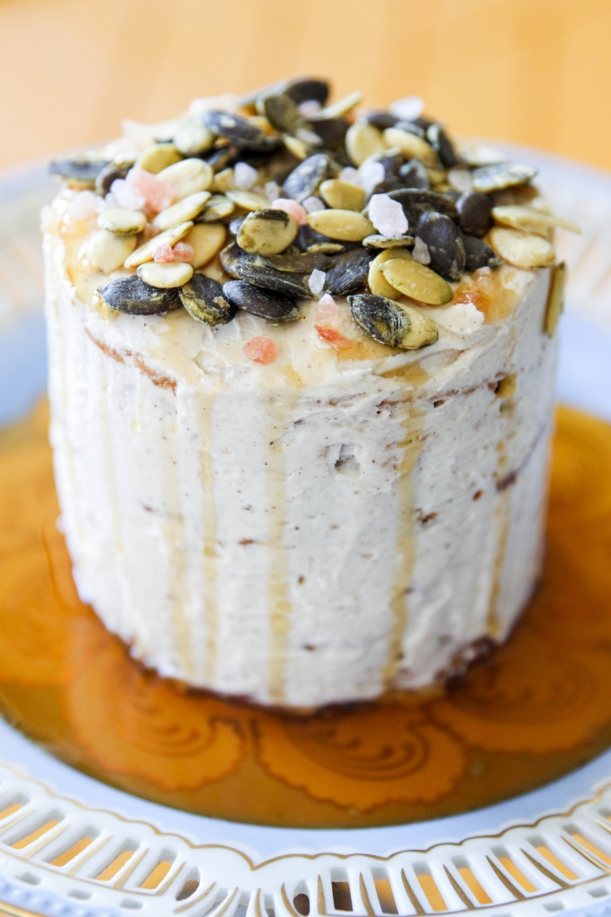 Autumn Date Cake with Clove Buttercream and a Salted Maple Pumpkin Seed Topping with iHerb 13 683x1024 - Autumn Date Cake