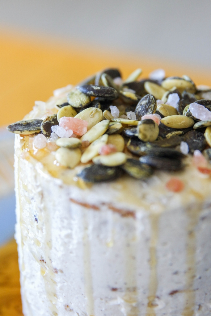 Autumn Date Cake with Clove Buttercream and a Salted Maple & Pumpkin Seed Topping with iHerb