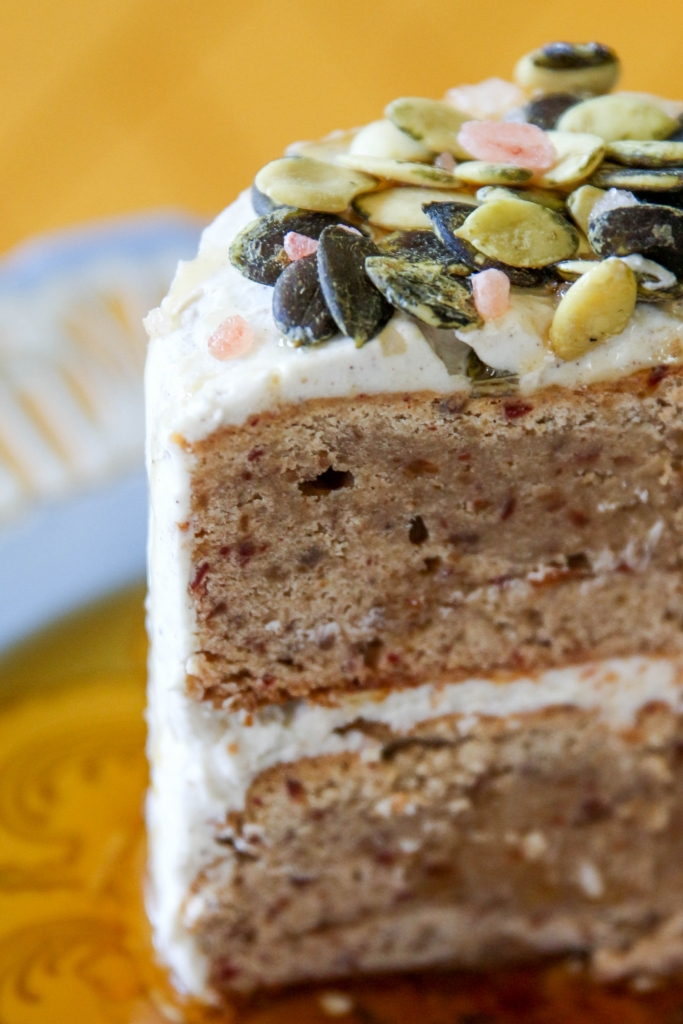 Autumn Date Cake with Clove Buttercream and a Salted Maple Pumpkin Seed Topping with iHerb 17 683x1024 - Autumn Date Cake