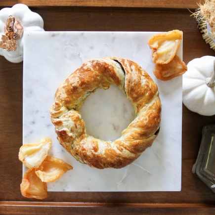 Chocolate & Pear Pastry Wreath featuring American Heritage Chocolate