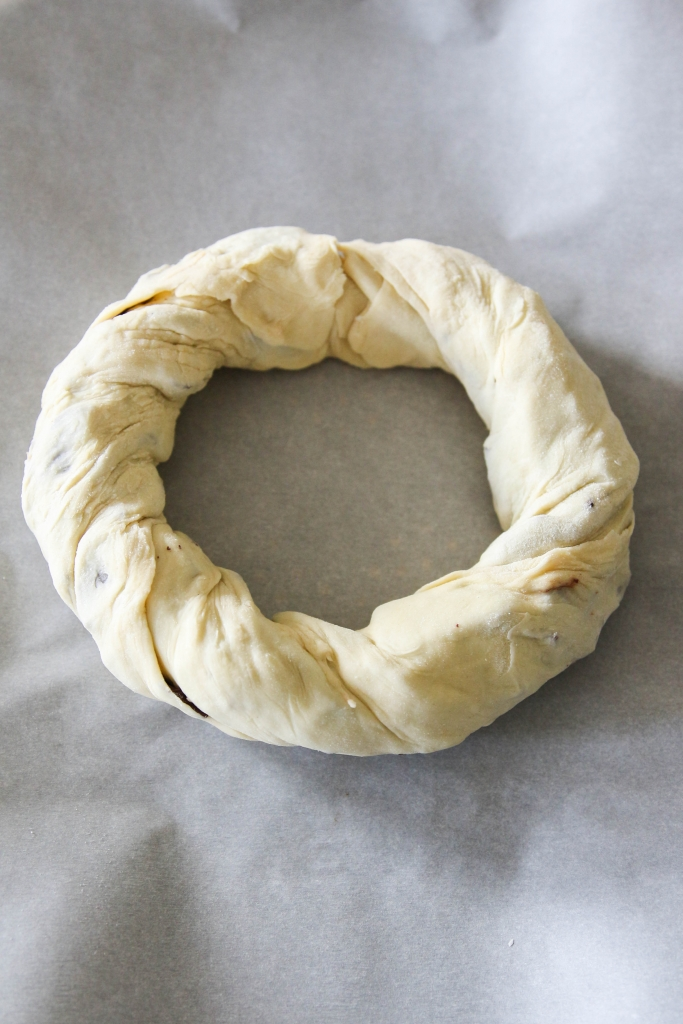 Chocolate Pear Pastry Wreath featuring American Heritage Chocolate 9 683x1024 - Chocolate & Pear Pastry Wreath