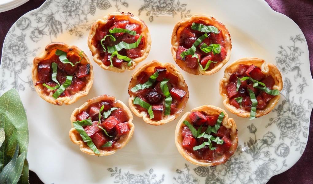 Cranberry Ham & Goat Cheese Pies
