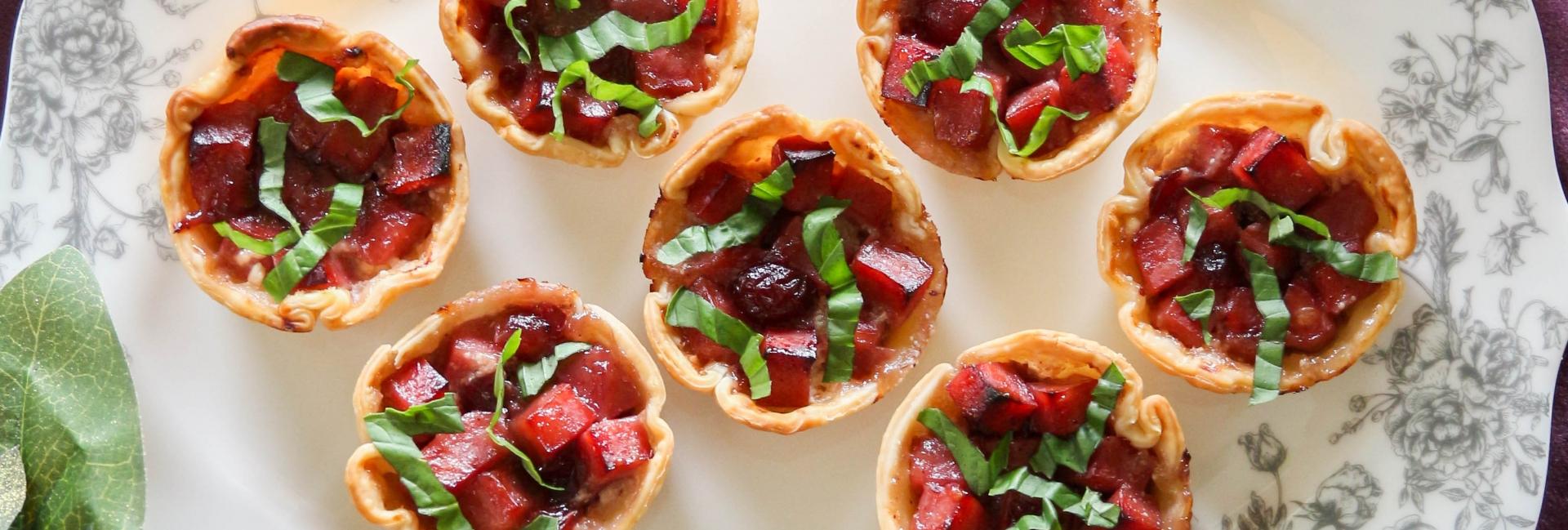 Cranberry Ham & Goat Cheese Pies