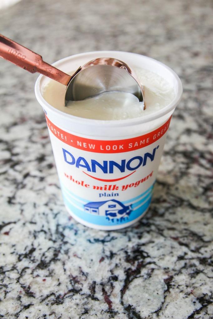 Dannon Peaches Cream Yogurt Cake 3 683x1024 - Peaches & Cream Yogurt Cake