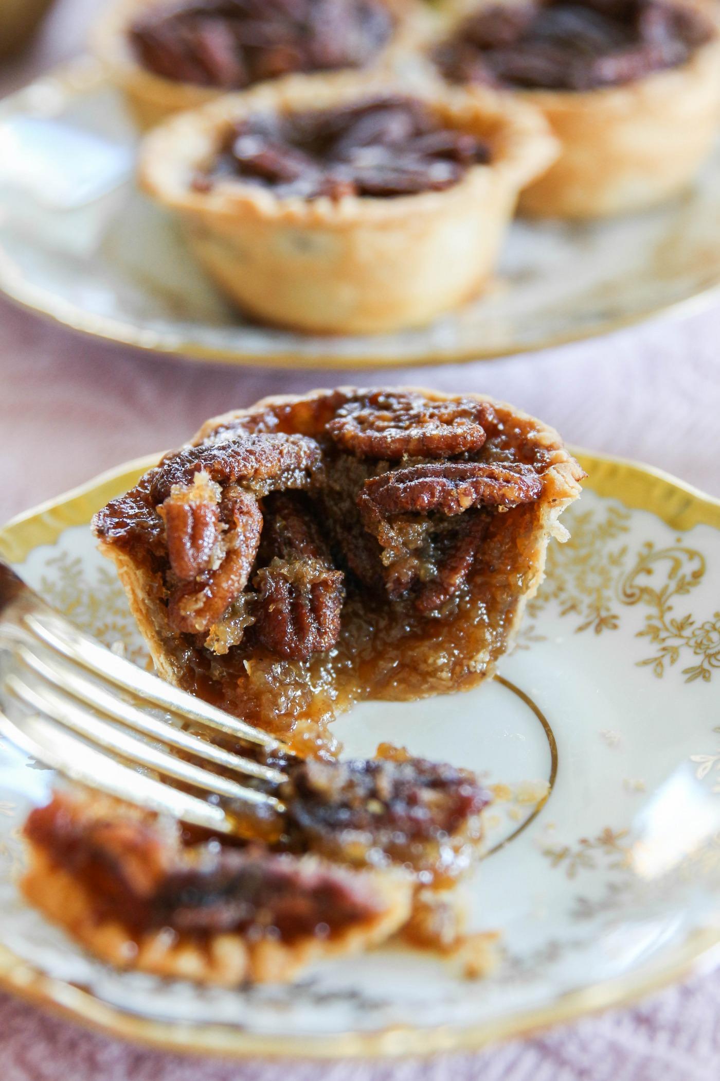 Mini Stout Pecan Pies with Karo Syrup