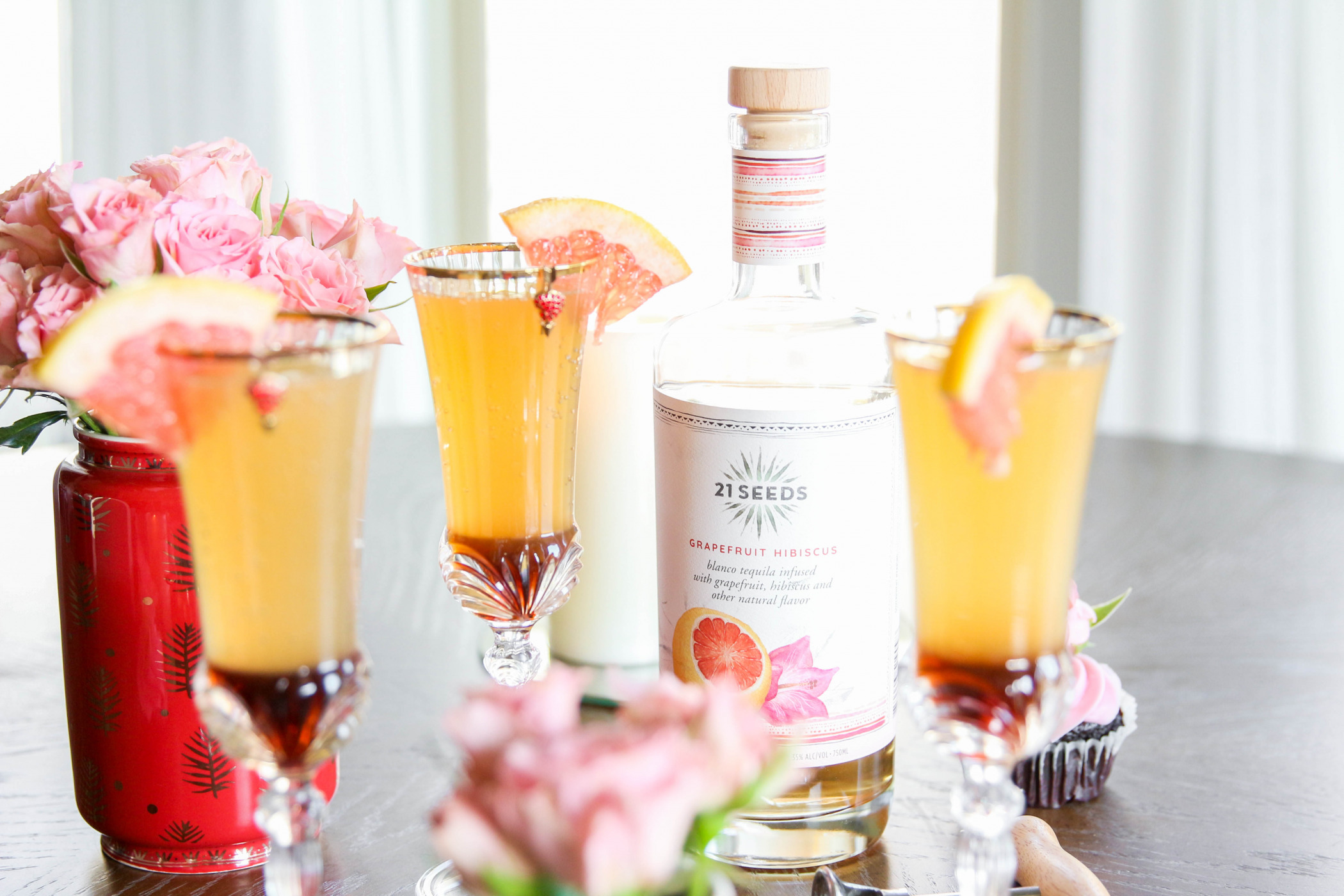 Galentine's Day Cocktail - The Mexican 75 with 21 Seeds Tequila